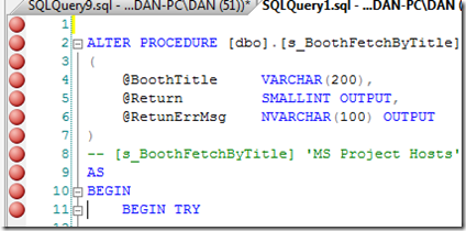 SQL Server 2008 - breakpoints